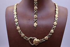 Yellow Kisses & Hearts Stampato Bracelet Necklace Set 14K Gold Clad Silver