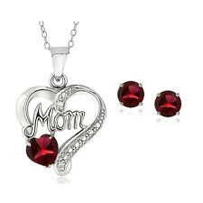 925 Silver Created Ruby & Diamond Accent Heart MOM Necklace and Earrings Set