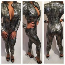 Connie's Exclusive Silver Jumpsuit W/ Front Zipper In Crocodile Print  S