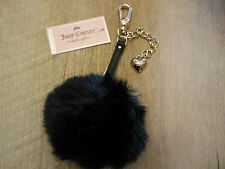 New Juicy Couture Faux Fur Ball Pom Pom Key Chain Clip Black NWT