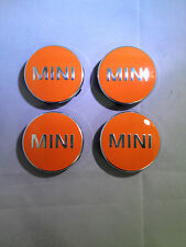 GENUINE F56 MINI ALLOY WHEEL CENTER BADGES HUB CAP EMBLEM DECAL IN ORANGE