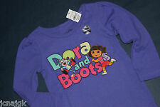 baby Gap NWT Girls 12 18 Mo. LS T Shirt Top Purple w/ Nick Jr. Dora & Boots