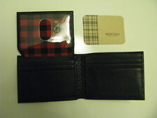 NWT BOCONI Gregory Flip ID Passcase Black leather Wallet with Black&Red Buffalo