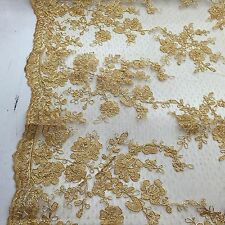 Metallic Gold Flowers Embroider On A Mesh Lace. Wedding/Bridal Fabric Lace.