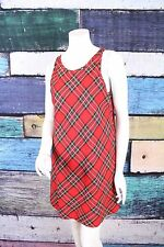Gap Red Plaid Vintage 90s Grunge Plaid School Girl Mini Shift Dress MEDIUM M