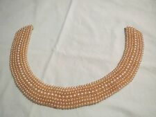 Vintage Faux Pearl Japan Handmade Collar 7 Rows Grad Sizes Elegant Retro Choker!