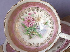Vintage Royal Stafford pink and white daisies English bone china tea cup teacup
