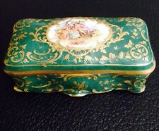 Antique Dresden Green Porcelain Box Hand Painted