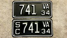 Ultra Rare 1934 Virginia Motorcycle, Side Car License Plate, 34 VA MC Plate Set