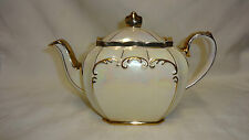 VINTAGE SADLER PEARL LUSTRE AND GILT CUBE TEAPOT