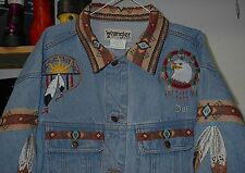 EAGLE/EAGLE FEATHER JEAN JACKET (EMBROIDERED) NATIVE AMERICAN