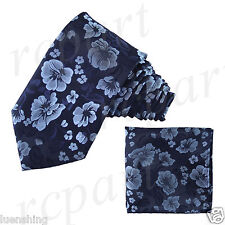 New Brand Q Men's Micro Fiber Neck Tie & Hankie Set Flowers Navy Light Blue