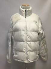 North Face Women's White Jacket Coat Puffer Down Embroidered Flowers Size M