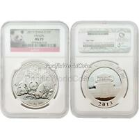 China 2013 Panda 10 Yuan 1 oz Silver NGC MS70