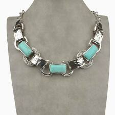 Tibet Silver Natural Turquoise Bib Collar Tennis Pendant Stunning Necklace