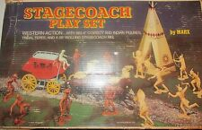 Marx Stagecoach Wild west Vintage playset toy with 22 six inch figures 2ft Coach