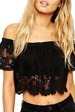 Black Lace Off the Shoulder Crop Top LC25535 women blouse sexy club nightwear