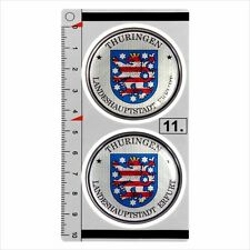 Thuringen​ set of 2 German Number Plate Seal Stadt 3D Domed resin Sticker badge
