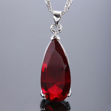 Fashion Jewelry Gift Red Garnet White Gold Gp Ruby Pendant Necklace Chain