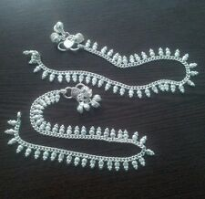"""1 Pair Silvertone Anklet Payal Pajeb Gift Indian Womens Jewelry Anklets 10"""" L"""