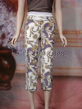 $1390 New JOHN GALLIANO White Purple Green Art Print Silk Crop Slacks Pants 4 36
