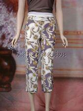 $1390 New JOHN GALLIANO White Purple Green Art Print Silk Crop Slacks Pants 4 36