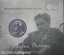 2014 Alderney £5 Coin Pack Dylan Thomas Royal Mint Brilliant Uncirculated