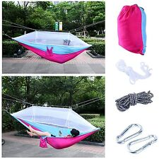 Camping Outdoor Bed Tree Straps Set Double Hammock With Mosquito Net (blue&Pink)