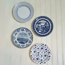 Set of 4 PLATES BLUE WHITE Transferware Dishes Ready to Hang Decor New & Vintage