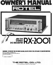 Rotel RX-2001 Receiver Owners Manual