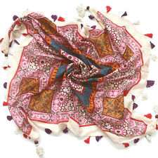 F3 Flower garden Squared print Shawl wrap 100% COTTON with Wood tassels SCARF