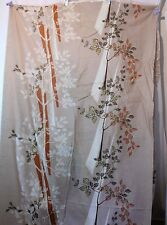 "Asian Floral Silk? Fabric Clothing Decor 44"" Wide Over 8 Yards Tan Rust Gold"