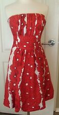Plenty Tracy Reese Frocks 4 Red White Floral Lined Strapless Silk Dress