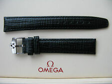 Brand New 18mm Extra Long Black Leather Strap fitted with 16mm Omega S/S Buckle