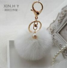 White Handbag Charm Key Ring Rabbit Fur Ball PomPom Cell Phone Car Keychain