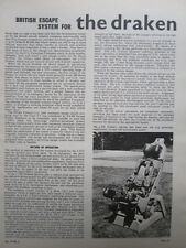 11/1963 ARTICLE 1 PAGE SAAB J 35 DRAKEN EJECTION SEAT ESCAPE SYSTEM GQ PARACHUTE