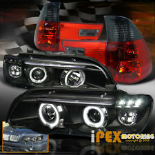 2000-2003 BMW X5 E53 E-53 Halo Projector LED Black Headlights + Smoke Tail Light