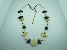 """NEW CHICO'S 34"""" LONG NECKLACE Black Gold Cream Tubes Beads 1/2 circles Squares"""