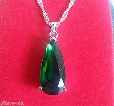 P101 Large 25mm green emerald pendant & chain silver /white gold gf BOXD Plum UK