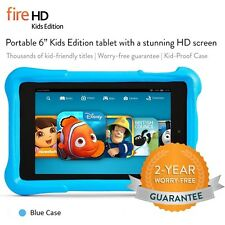 Amazon Kindle Fire HD 6 inch Kids Edition Wi-Fi 8 GB Black + Blue Case 2 Cameras