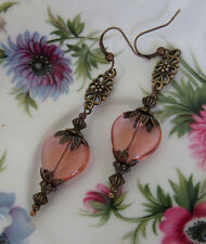 VINTAGE STYLE PEACH dusky pink HEART EARRINGS Steampunk