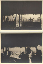 SET OF TWO 1920S PHOTOS OF HUT, TRIBE, DEAD ANIMAL - MOZAMBIQUE