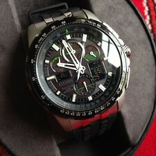 BRAND NEW CITIZEN ECO-DRIVE SKYHAWK AT BLACK DIAL GREEN ACCENT RUBBER JY8051-08E