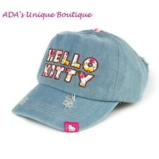 Hello Kitty Floral Denim Baseball Cap Adjustable Fit Hat Distressed Jean NWT