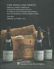 CHRISTIE'S WINES Romanee-Conti Coll Pre-Prohibition Rye Whiskey Catalog 2015