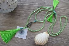 Tassel Necklace Long Lime Green Crystal BeadsLeaf Charm Amulet Double Layer