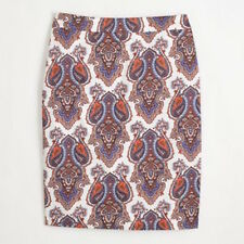 J.Crew  pencil skirt red blue white paisley  Womens 6  Worn once