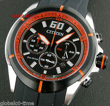NEW CITIZEN ECO-DRIVE MEN'S WATCH CA4105-02E CHRONO BLACK/ORANGE DIAL 'US SELLER