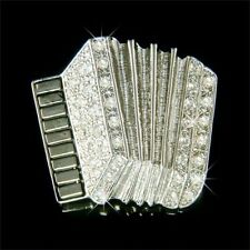 w Swarovski Crystal Bass Piano ~Accordion~ Player Folk Music Musical Pin  Brooch