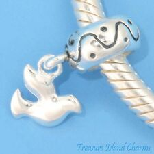 FLYING PEACE DOVE  .925 Sterling Silver EUROPEAN EURO Dangle Bead Charm